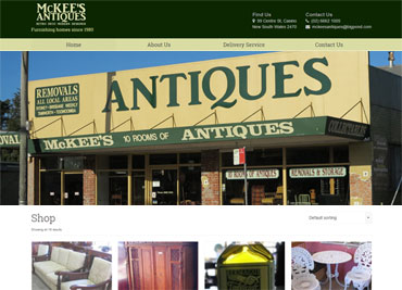 McKee's Antiques website example