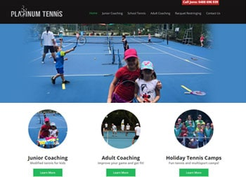 Platinum Tennis Nerang website example