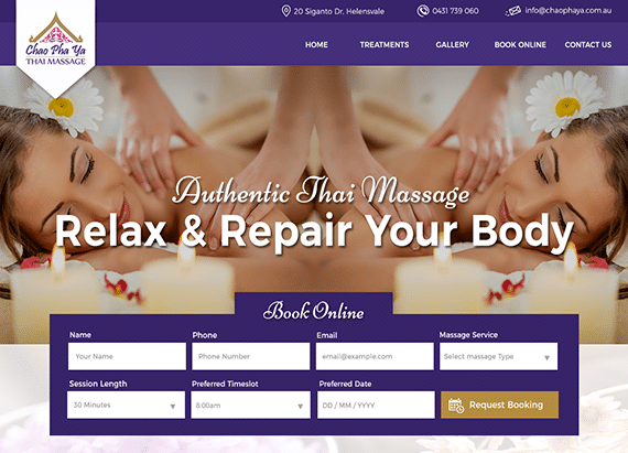 Chao Pha Ya Thai Massage website example.