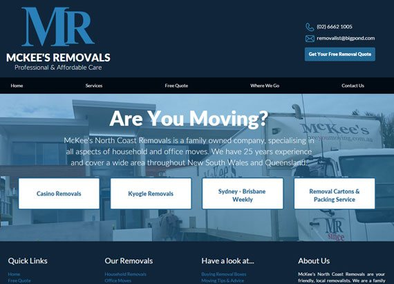 McKee's Removals website example